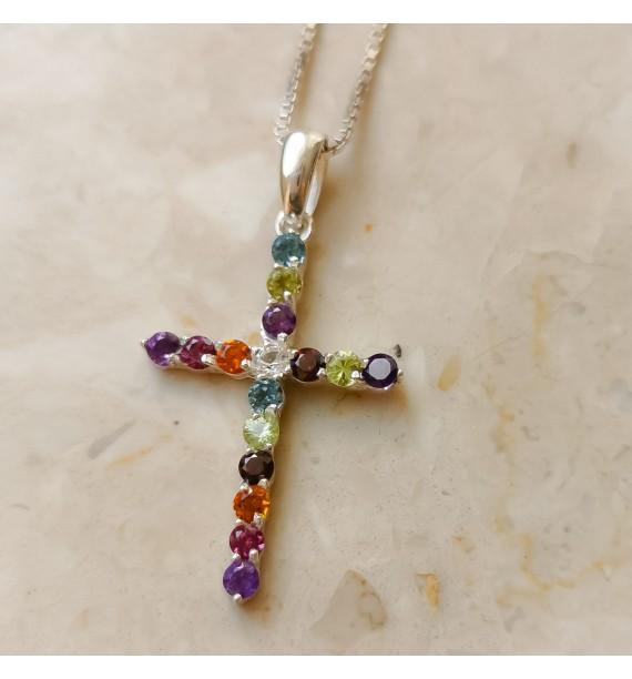 Krzyż z oliwiniami- POLISHED ICE
