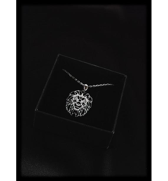 Silver Lines Lion Necklace